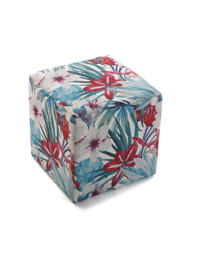 PUFF CUBO FLORES AZUL - 21350102