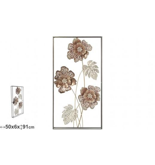 APLIQUE METAL PAREDE FLORES 50*91*6.5 - 24253