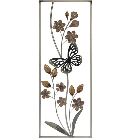 APLIQUE METAL PAREDE FLORES 28.5*74*4 - 24261