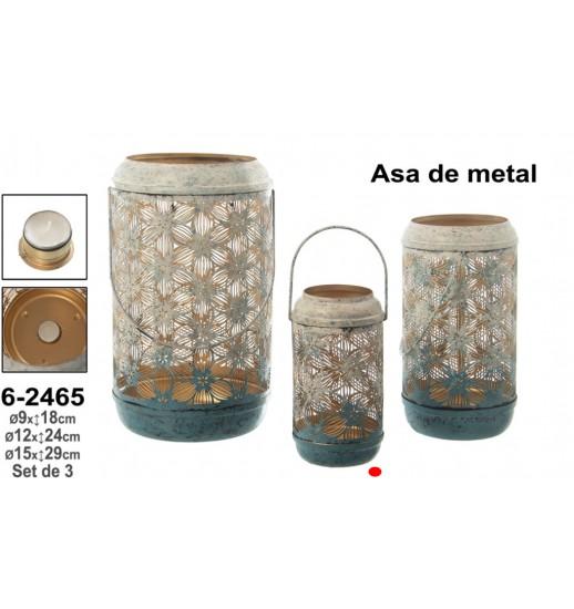 PORTA VELAS METAL BRANCO/AZUL COM ASA METAL 9*18 - 62465