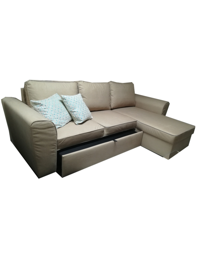SOFA 3 LUG + CHAISE C/COFRE S/CAMA ASTON - C1420 - BROWN